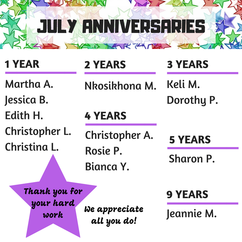 July Anniversaries